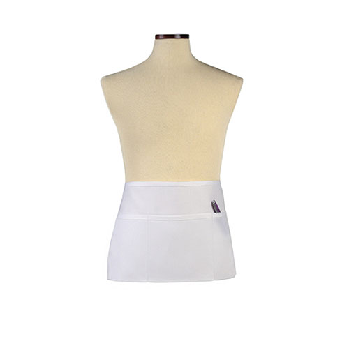 White Waist Apron with Divided Pocket