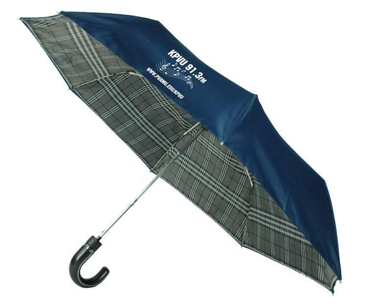 43 Inch Safety Auto Open Double Layer Plaid Folding Umbrella SALE