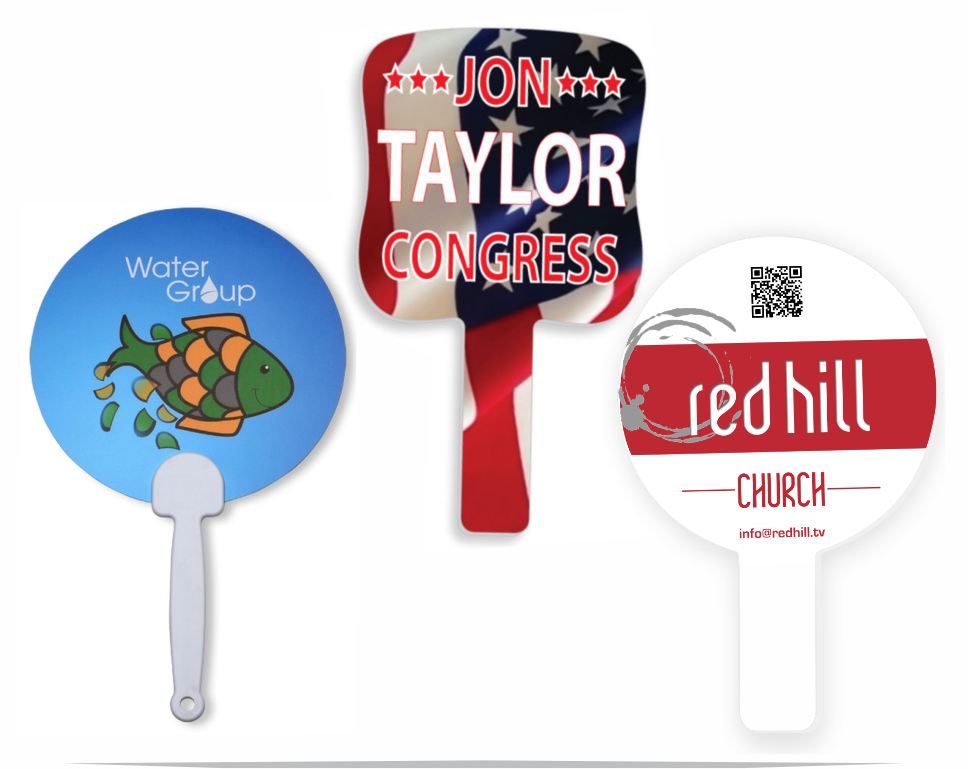 Custopm printed plastic hand fans. Stock and custom shapes available.