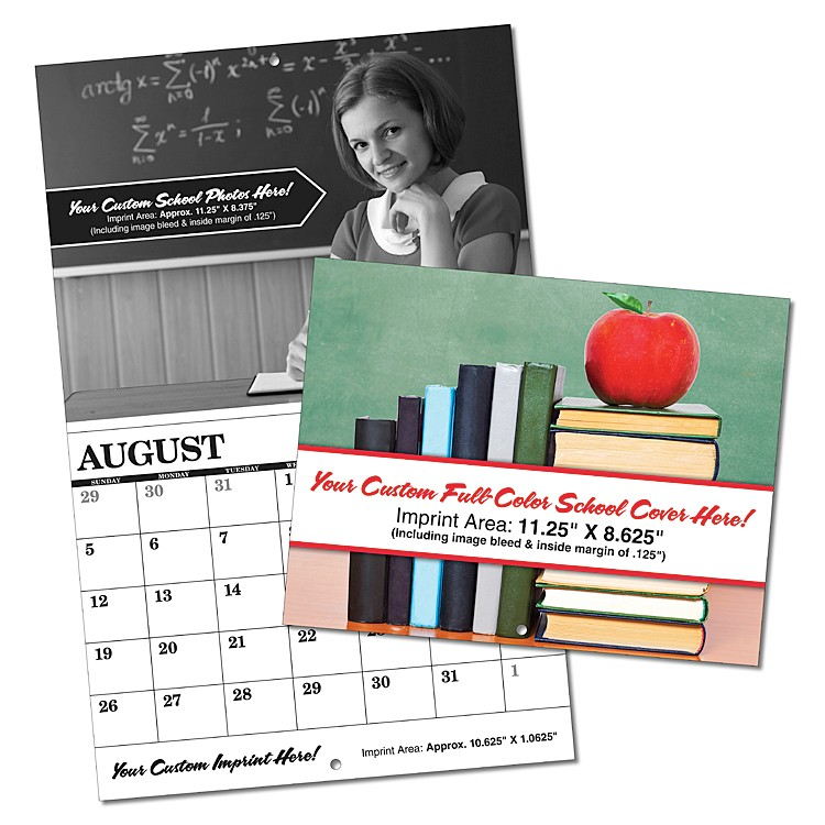 Custom 13-Month School Appointment Wall Calendar - Black Inside Pages