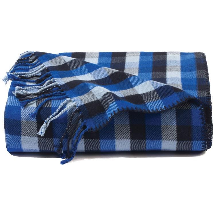 Blue Plaid Bamboo Throw Blanket