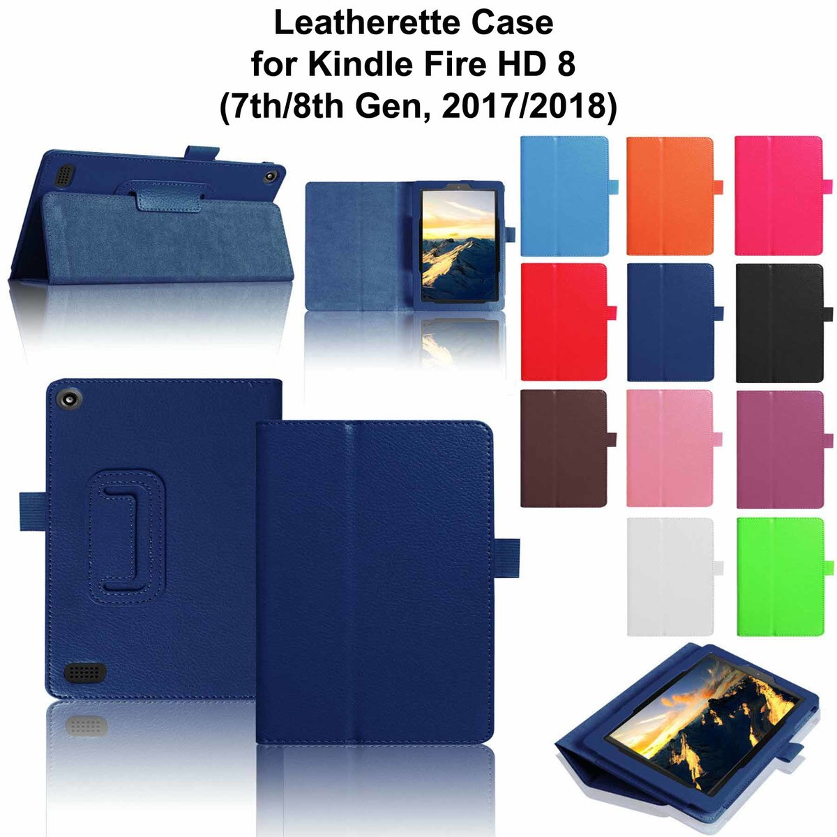 iBank® Leatherette Case for Kindle Fire HD 8 (2017 & 2018)
