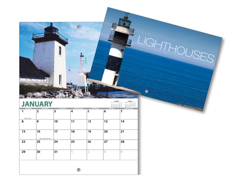 13 Month Mini Custom Photo Appointment Wall Calendar - LIGHTHOUSES