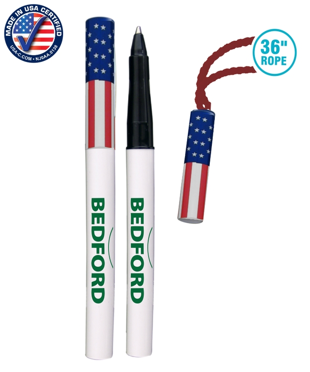 786FL Rope Pen USA Made Pen-on-a-Rope 36 Necklace Patriotic Pen w/ Cap