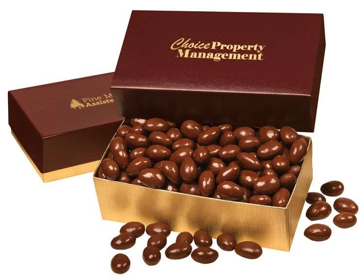 SALE! - Chocolate Covered Almonds in Burgundy & Gold Gift Box