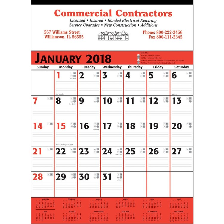 Commercial Planner Wall Calendar - Red & Black - Customizable