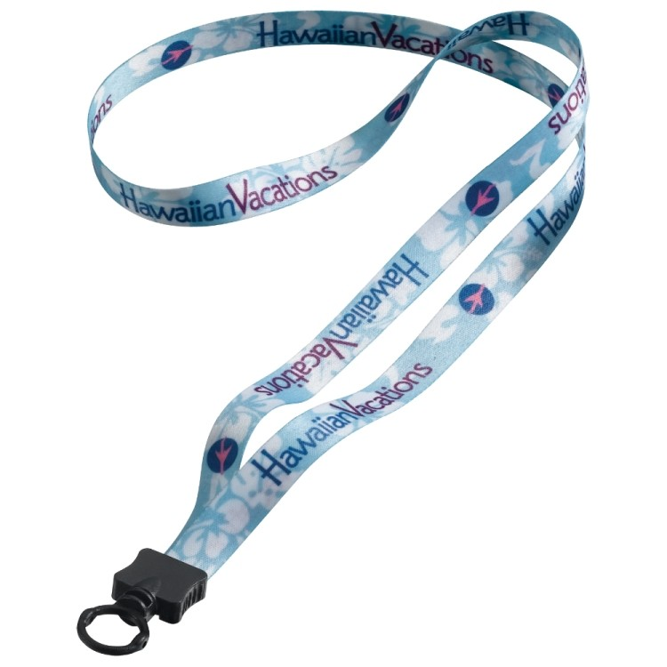 1/2 Dye Sublimated Lanyard with Plastic Clamshell & O-Ring