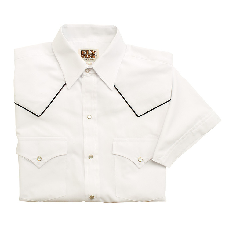 Short Sleeve Blended Piping Western Wear Shirt