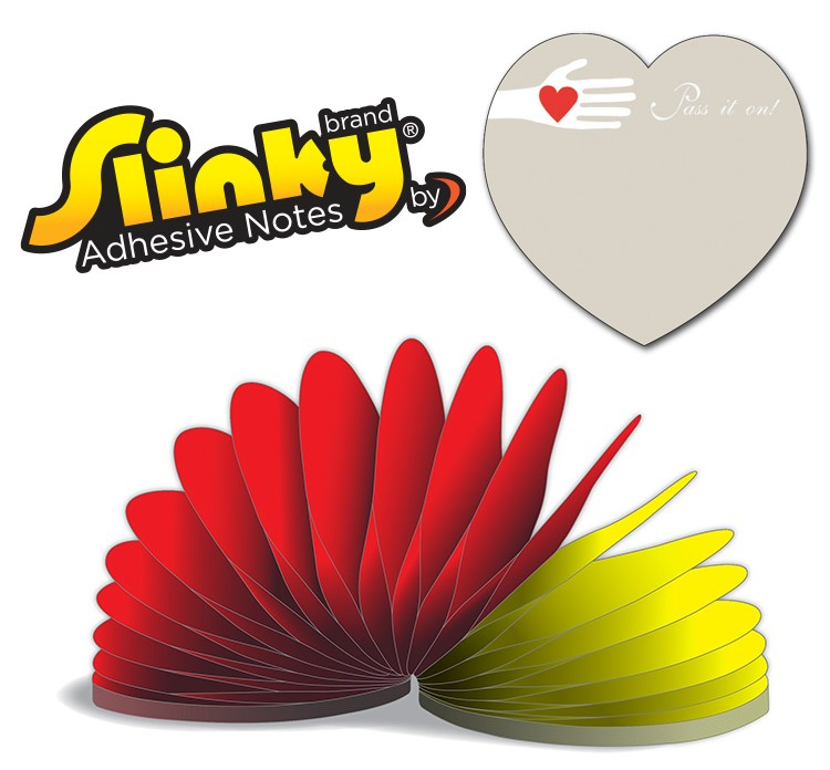 Slinky(R) Adhesive Notes - Heart Shape - 100 Sheets
