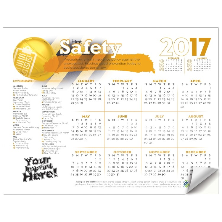 Adhesive Wall Calendar - 2017 Safety First (Safety)