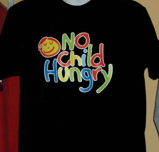 Full Color Heat Press Print on a Black T-shirt for No Child Hungry