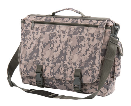 Military imprint portfolio/messenger bag.Large zippered main compartment.