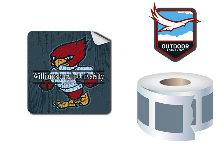 Roll Stickers / Decal - Outdoor Permanent - 2x2 Square Shape