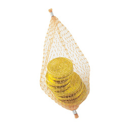 C19 Stock Chocolate Molded Coins in Mesh Nets