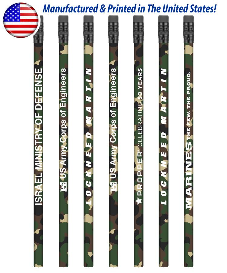USA Made Forest Camo Pencil w/ Black Eraser, #2 lead