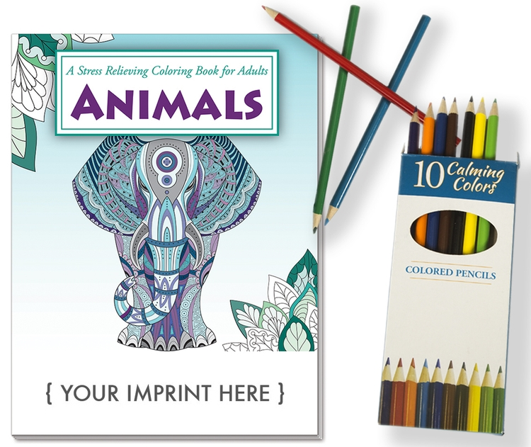 ADULT COLORING BOOK RELAX PACK - Animals Stress Relief Coloring Book with Colored Pencils Set - Relax Pack Stress Reliever/Coloring Book Pack with Colored Pencils