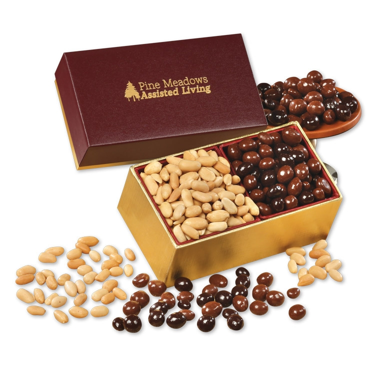 SAVE OVER 25% - Choice Virginia Peanuts & Chocolate Covered Peanuts in Burgundy & Gold Gift Box