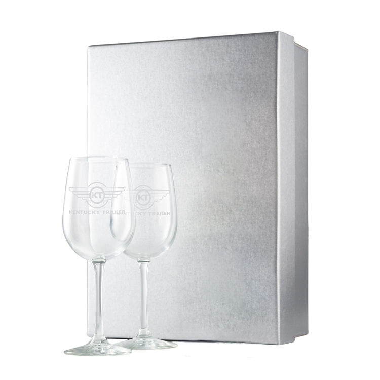 Silver Gift Box w/ Etched Wine Glasses