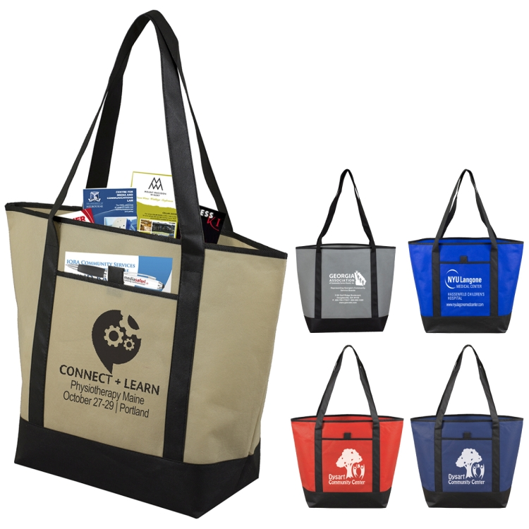 "17-1/2"" W x 13-1/2"" H - 80GSM Non-Woven The City Life Beach, Corporate and Travel Tote Bag"
