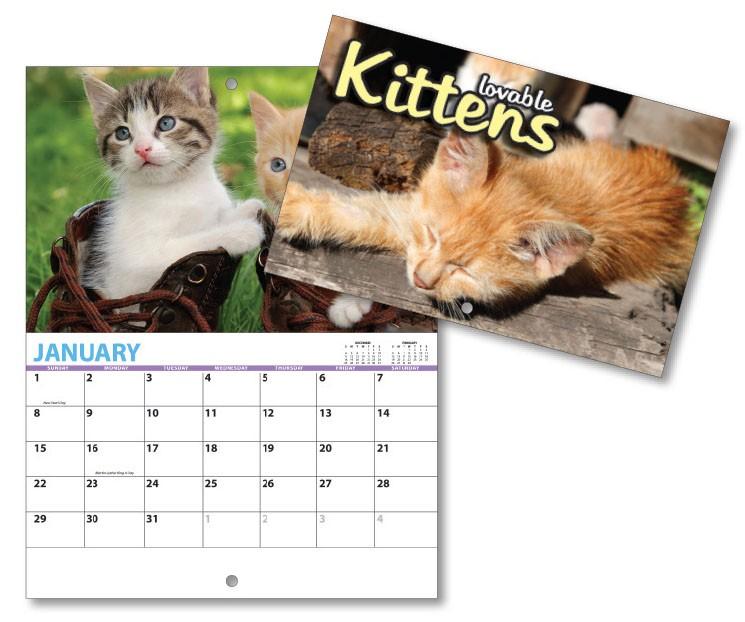 13 Month Mini Custom Photo Appointment Wall Calendar - KITTENS