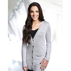 Women's boyfriend cardigan sweater made of 75% rayon/16% nylon /9% metallic.
