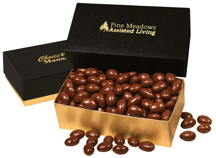 SALE! - Chocolate Covered Almonds in Black & Gold Gift Box