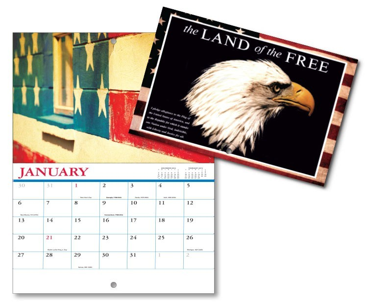 13 Month Mini Custom Photo Appointment Wall Calendar - LAND OF THE FREE