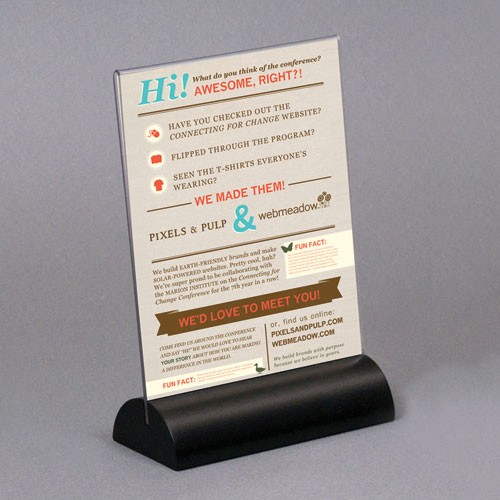 Acrylic Countertop Sign Holder with Maple Base - 5w x 7h