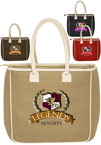 Two Tone Colored Jute Tote Bag - 14 W x 14 H