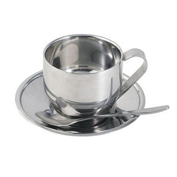Stainless Steel Coffee Cup With Saucer