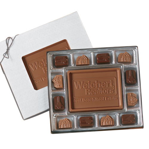 8 oz. Custom Chocolate Gift Box with Stock Chocolates - Executive Gifts