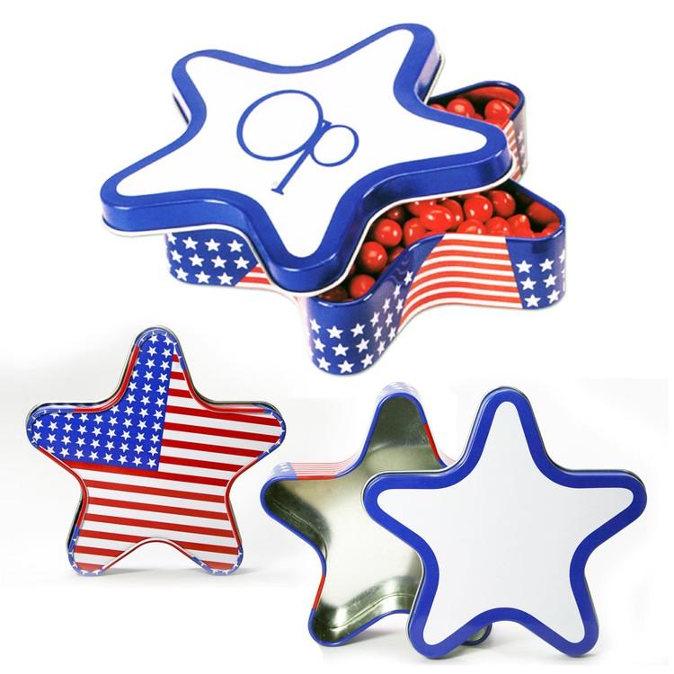 Patriotic Star Shape Tin Box