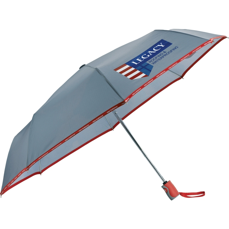 42 Inch New Balance® Compact Auto Open/Close Folding Umbrella CLEARANCE Gray