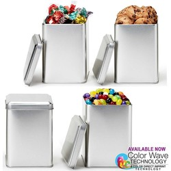 Small Square Tin Box Canister with Cookies - Storage Stainless Container Stackable Tins Holiday Gifts Coffee Tea