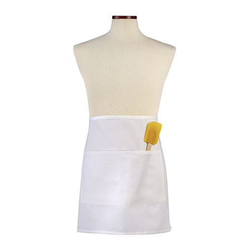 White Half Bistro Apron with Divided Pocket