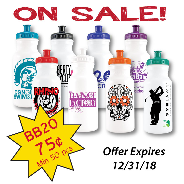 20oz. Bike Sport Water Bottle with View Stripe and Ounce Markings **ON SALE**