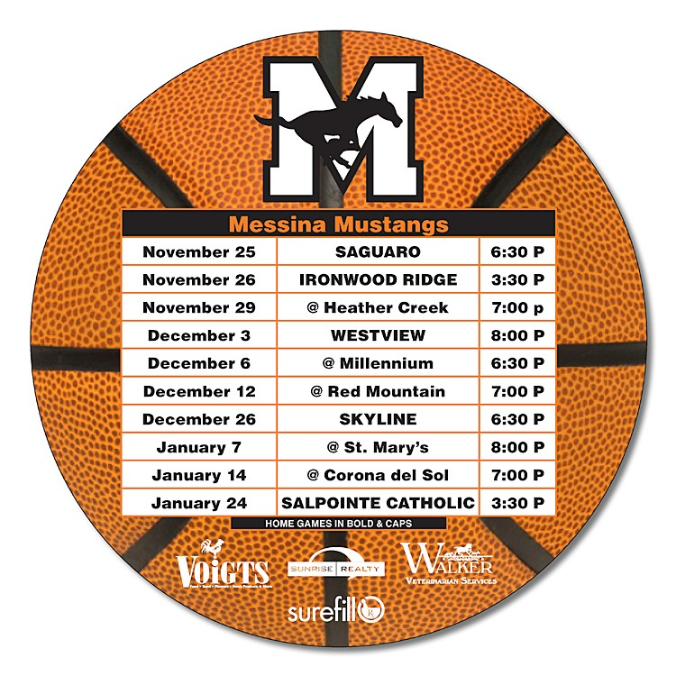 Basketball Schedules Magnet - 5.25 Inch Diameter Circle - 20 mil.