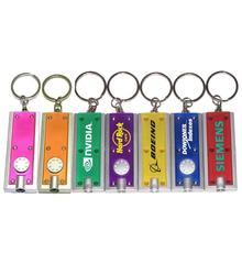 Slim rectangular flash light with swivel key chain