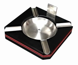 Black Cigar Ashtray with Cutter