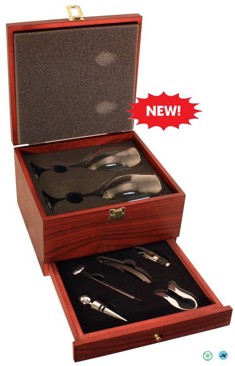 Rosewood Finish Presentation Wine Box w/Drawer & Tools