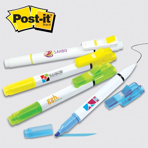 Post-it(R) Flag+ Pen and Highlighter Combo w/50 Flags, 4c Digital imprint