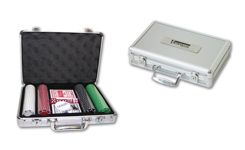 200 Piece Suit Chips with Aluminum Poker Set
