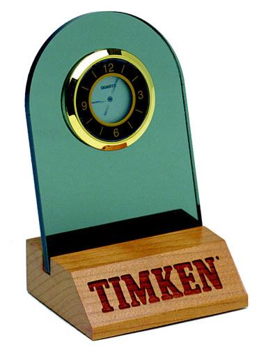 Solid Hardwood and Acrylic Mini Desk Clock-USA