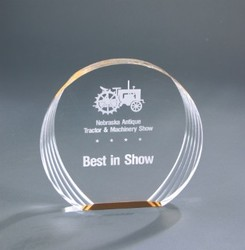 6 1/2 x 6 Gold Round Acrylic Award