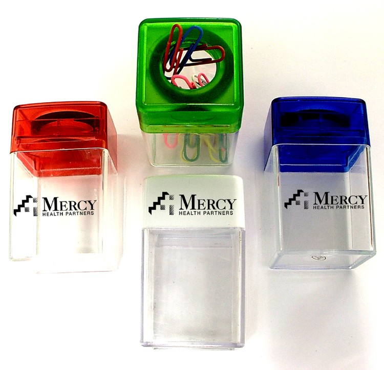 Magnetic paper clip dispenser with colorful paper clips.