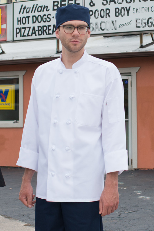 Classic French Knot Chef Coat, White XS-XL
