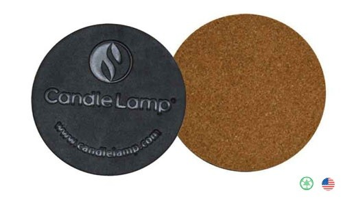 Round Leather & Cork Coaster