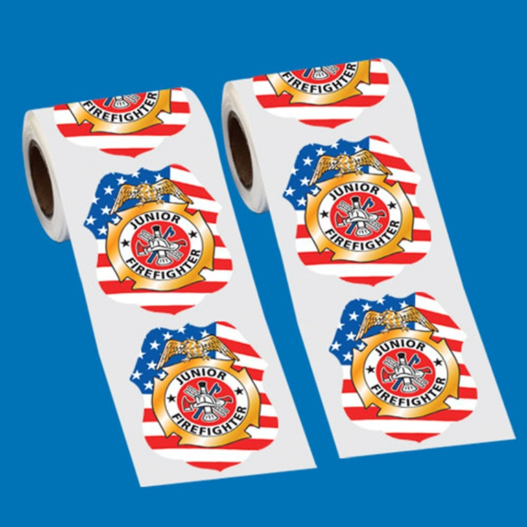 Patriotic Junior Firefighter Badge Stickers-On-A-Roll