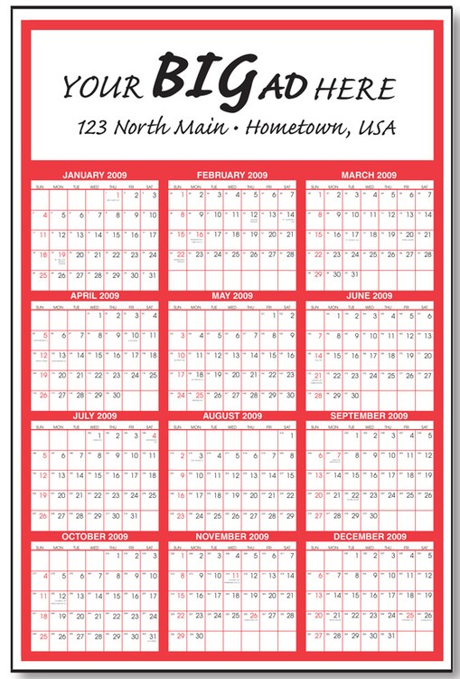 At A Glance Calendar.Gigantic Year At A Glance Commercial Wall Calendar One Color 27 X 39 Poster Single Sheet