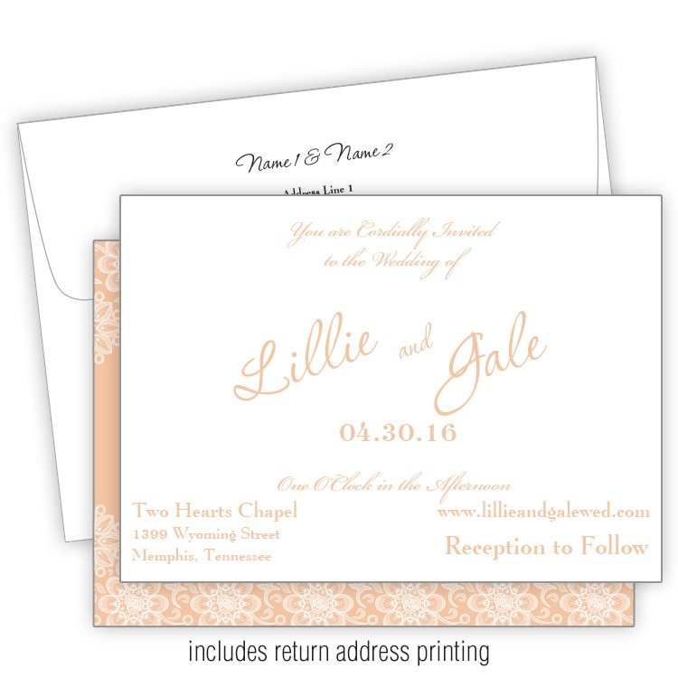 always and foreverd 5x7 wedding invitation with printed envelopes
